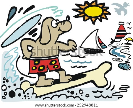 Vector cartoon of dog surfing on bone surfboard with beach and lighthouse in background. - stock vector