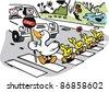 Vector cartoon of duck with ducklings crossing road. - stock vector
