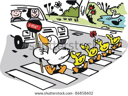 Vector cartoon of duck with ducklings crossing road. - stock vector