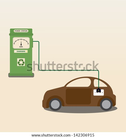 Vector cartoon of Electric car getting charged at station - stock vector
