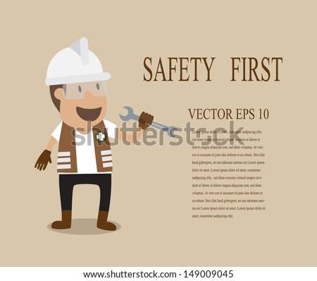 Vector cartoon of ENGINEER full with Personal Protection Equipment holding wrench - stock vector