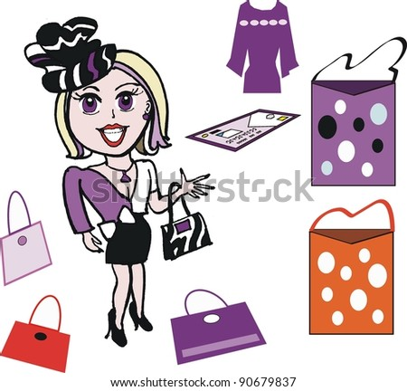 Vector cartoon of enthusiastic woman shopper with fashion accessories - stock vector