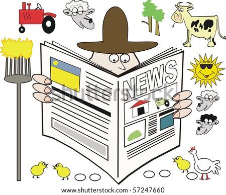 Vector cartoon of farmer reading newspaper. - stock vector