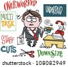 Vector cartoon of frustrated executive in office  with signs. - stock photo