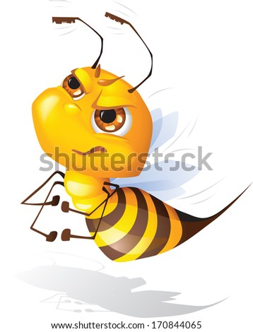 Vector cartoon of funny brave bee