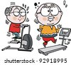 Vector cartoon of grandparents using exercise machines - stock vector