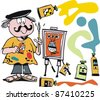 Vector cartoon of happy artist with painting and colors. - stock vector