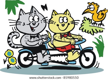 Vector cartoon of happy cats riding on bicycle - stock vector