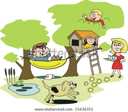 Vector cartoon of happy family relaxing with hammock, tree house in garden.