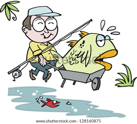 Vector cartoon of happy fisherman with large fish.
