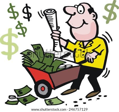 Vector cartoon of happy man with wheelbarrow full of money - stock vector