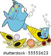 Vector cartoon of happy mother fish with baby fish in pram shell. - stock vector