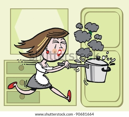 Vector cartoon of housewife running with burning saucepan