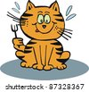 Vector cartoon of hungry cat holding fork. - stock vector