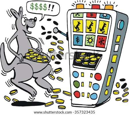 Vector cartoon of jubilant kangaroo leaping for joy as it fills pouch with cash from jackpot slot machine.  - stock vector