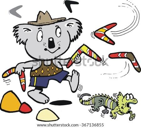 Vector cartoon of koala bear and lizard in Australian outback.  - stock vector