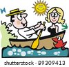Vector cartoon of man and woman in row boat. - stock vector