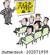 Vector cartoon of man at business seminar and bored audience. - stock vector