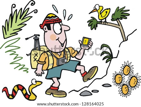 Vector cartoon of man hiking in forest.
