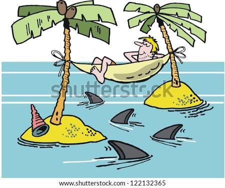 Vector cartoon of man on desert island with hammock and sharks. - stock vector
