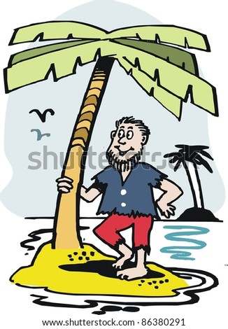 Vector cartoon of man on tropical island with palm tree.
