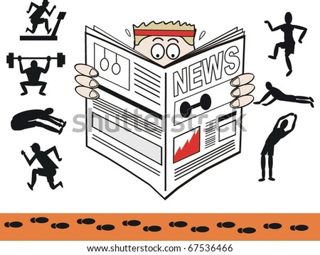 Vector cartoon of man reading gym and exercise newspaper. - stock vector