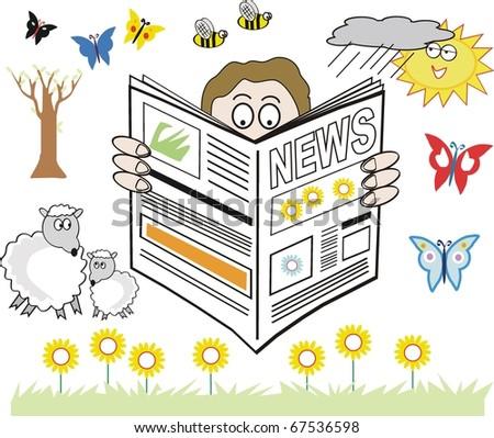 Vector cartoon of man reading newspaper with seasonal spring theme. - stock vector