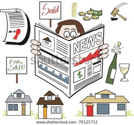Vector cartoon of man reading real estate newspaper. - stock vector