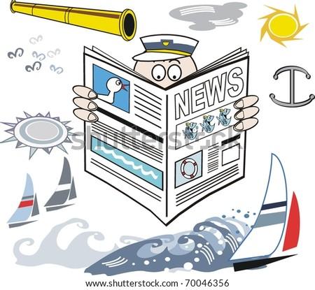 Vector cartoon of man reading yachting newspaper. - stock vector
