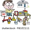 Vector cartoon of man selling items at garage sale. - stock photo