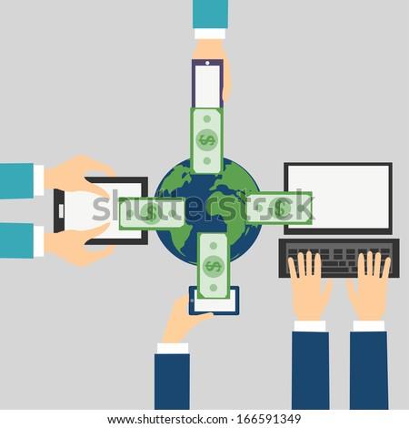 Vector Cartoon of Online banking concept: Send money via smart phone, computer, tablet, phone - stock vector