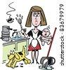 Vector cartoon of overworked housewife in kitchen - stock photo