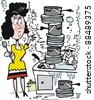 Vector cartoon of overworked housewife washing dishes in sink. - stock photo