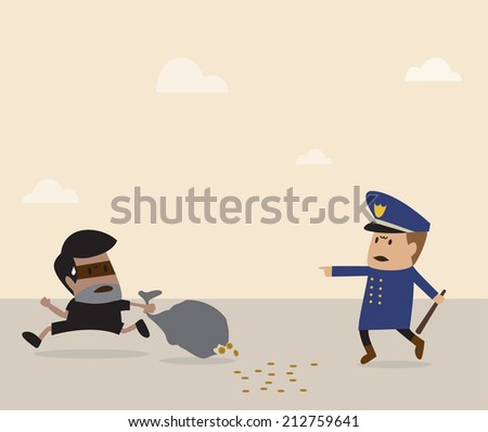 Vector cartoon of Policeman is chasing thief - stock vector