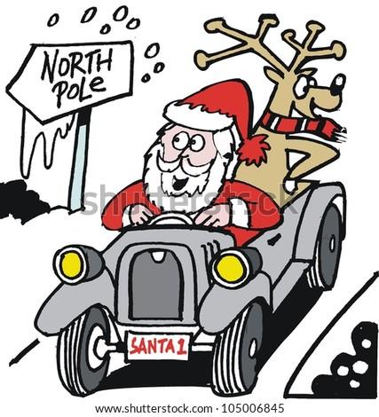 Vector cartoon of Santa Claus driving old vintage automobile - stock vector