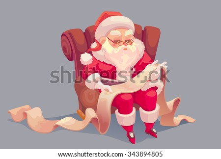 Vector cartoon of Santa Claus seating on the chair and reading children names - stock vector