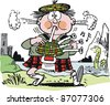 Vector cartoon of Scotsman blowing bagpipes beside lake and castle. - stock vector