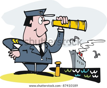 Vector cartoon of ship's captain with telescope and boat.