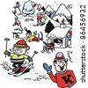 Vector cartoon of skiers on mountain - stock vector