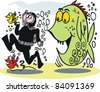 Vector cartoon of skin diver being chased by large fish - stock vector
