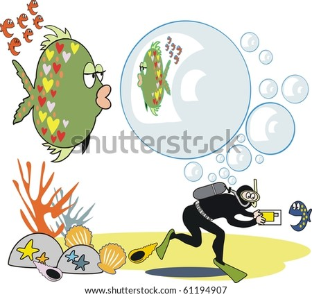 Vector cartoon of skin diver taking photograph of fish with bubbles. - stock vector