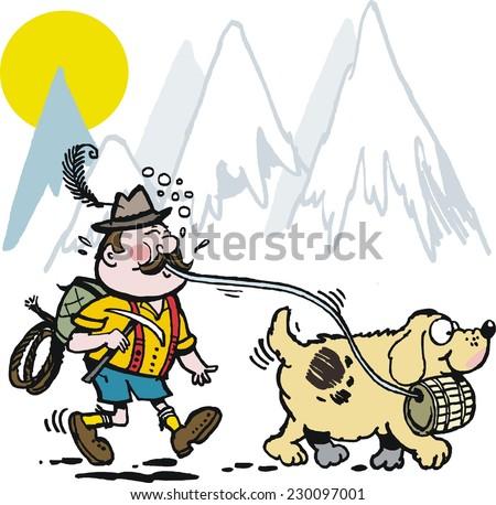 Vector cartoon of Swiss man walking St. Bernard rescue dog in mountains - stock vector