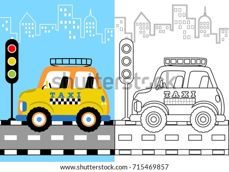 Vector Cartoon Of Taxi In The Road Coloring Page Or Book