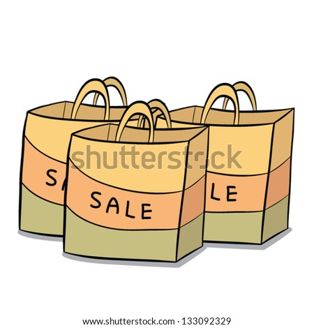 vector cartoon of three sale paper bags for your shopping