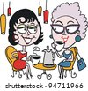 Vector cartoon of two women drinking coffee - stock photo