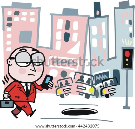 Vector cartoon of weary business man concentrating on mobile phone while walking down city street.