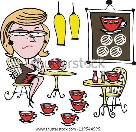 Vector cartoon of woman drinking coffee. - stock vector