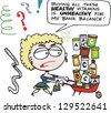 Vector cartoon of woman with barrow full of vitamin products - stock photo