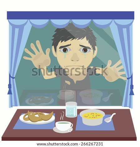 Vector cartoon orphans, child beggars peek into the house with food on the table hungry. - stock vector