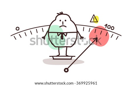vector cartoon overweight man - stock vector